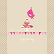 Flying Pink Bird 10 Cupcakes Bunting Beige Dots