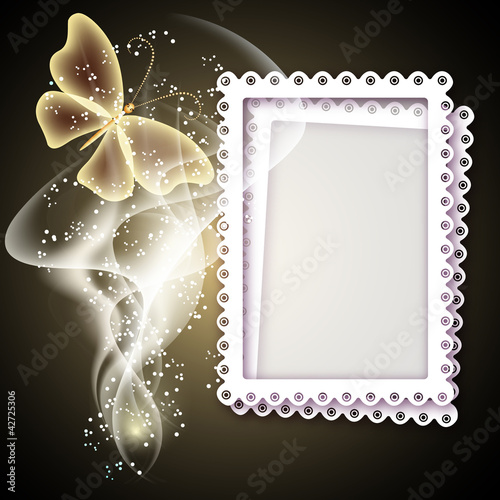 Background with photo frame, butterfy and smoke