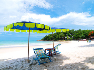 Two chairs and umbrella tropical beach in Samed Island, Thailand