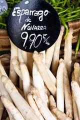 Navarra asparagus with price tag in euros