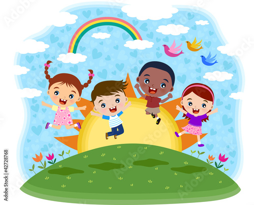 In de dag Regenboog Multicultural children jumping on the hil