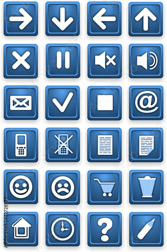 Set of icons. Square pictograms of blue color.