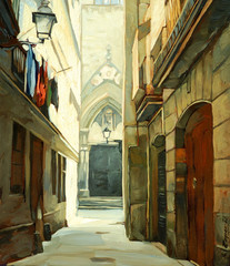 street in Gothic quarter of Barcelona, illustration, painting