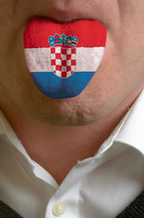 man tongue painted in croatia flag symbolizing to knowledge to s
