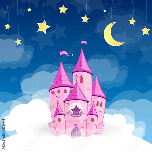 Naklejka Ilustracji wektorowych z zamku księżniczki w nocy