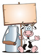 Cow with Board sitting beside Milk Can