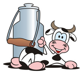 Cow laying in front of a Milk Can