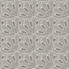 vector seamless floral  monochrome pattern with bizarre flowers