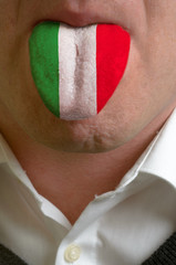 man tongue painted in italy flag symbolizing to knowledge to spe
