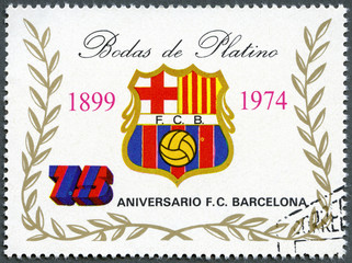 EQUATORIAL GUINEA - 1974: shows label of Barcelona Soccer Team