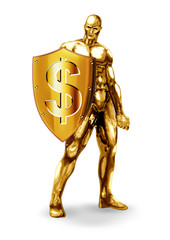 Illustration of a gold man holding a shield with dollar symbol