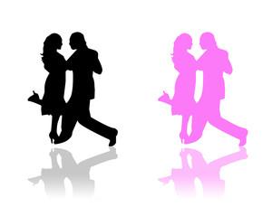 Couples de danseurs noir et rose