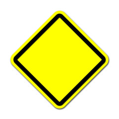 Yellow blank sign on white