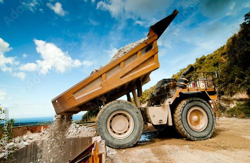 bulldozer excavator in quarry