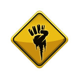 Revolution fist social protest yellow road sign illustraion poster