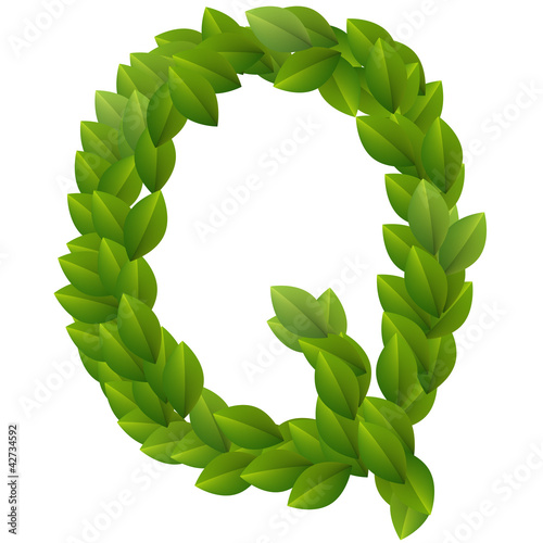 Letter Q of green leaves alphabet