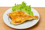 Fried Flounder on lettuce poster