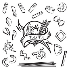 set of various pasta elements
