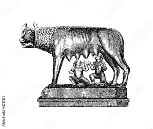 Romulus, Rémus & mother Wolf - Roman Legend