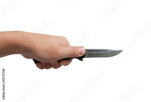 black knife in his hand on a white background