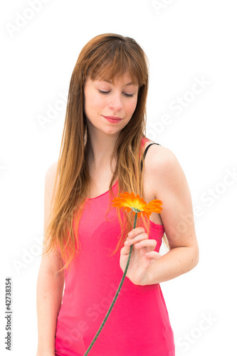 woman wonders on flower