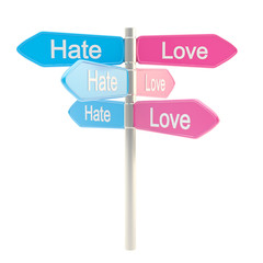 Hate and love metaphor as a road sign