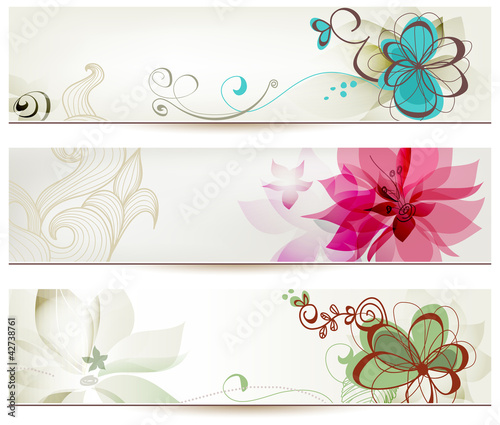 In de dag Abstract bloemen Floral banners in retro style