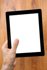man hand holding a tablet with a isolated screen