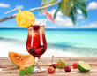 Fruit cocktails on the beach