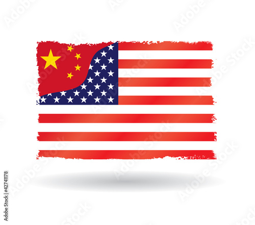 China creeping attack on the U.S., China versus USA flag.