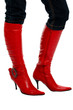 woman's legs in red boots