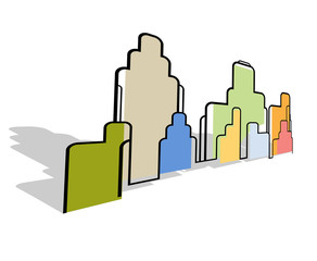 Color abstract city landscape stylized background vector
