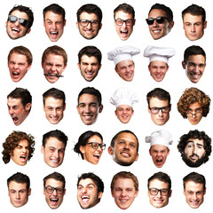 big collection of person faces over white background