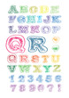 sketch of colorful alphabet