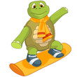 Funny Turtle. Snowboarding.