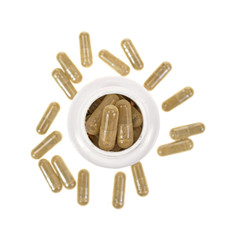 Green tea extract capsules with container
