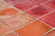Perspective of Square red tiles floor