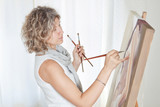 Painter Artist creates pictorial art. poster