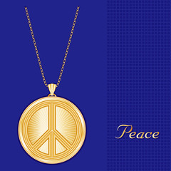 Peace Symbol Gold Pendant Necklace and Chain