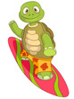 Funny Turtle. Surfing.