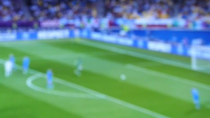 blurred Match of an european football ( soccer ) team