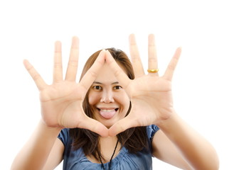 Asian woman have funny isolated on the white background.