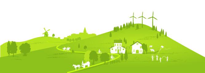 bannière énergies renouvelables sur fond de campagne