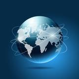 Modern globe network blue background, vector