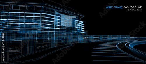 Wireframe building background
