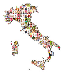 map of italy with a lot of people portraits