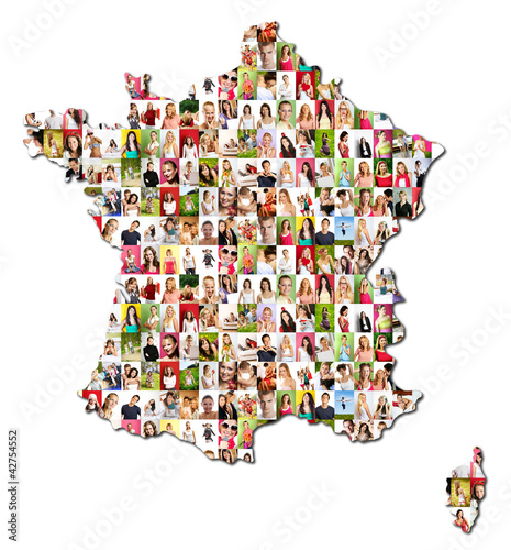 map of france and corsica with a lot of people portraits