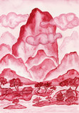 Crimson hills, painting