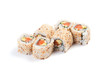 Uramaki. California salmon. On a white background. Salmon, avoca