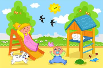 Bambini felici al parco giochi in primavera